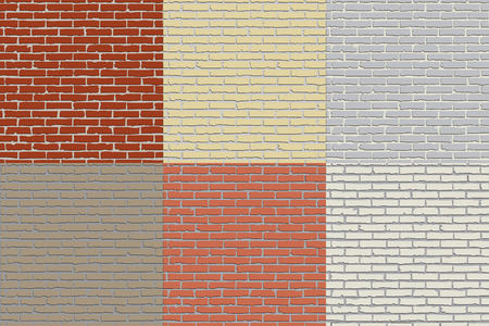 Set of flat hand drawn colored brick wall textures as a background