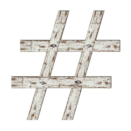 Hashtag vintage symbol isolated on white background