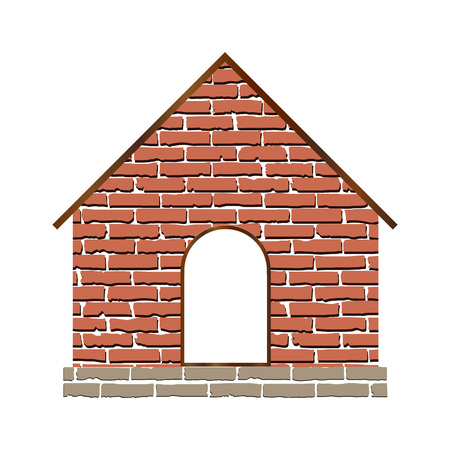 Home with brick texture media icon isolated on white background Иллюстрация