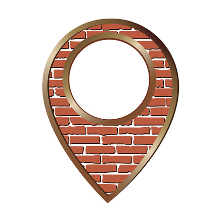 Brick location pin icon into bronze frame isolated on white background