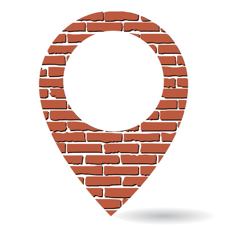 Brick map pin icon isolated on white background