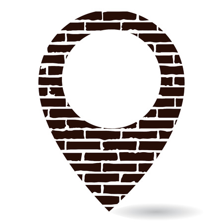 Map pin brick black icon silhouette isolated on white background