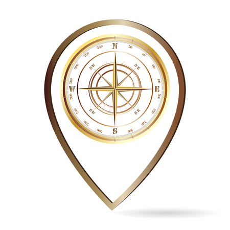 Location pin with compass in vintage style isolated on white background