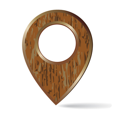 Map pin con from old wooden plank in bronze frame i isolated on white background Иллюстрация