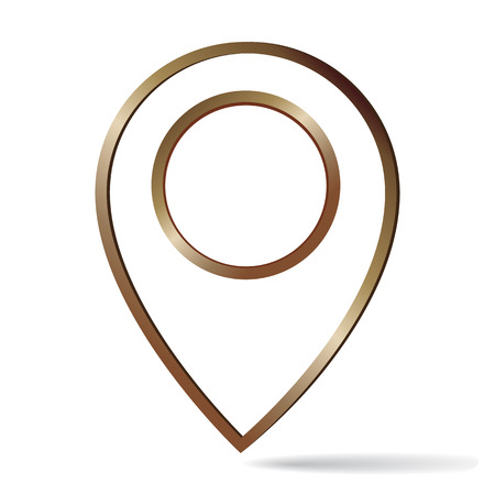 Map pin bronze frame icon isolated on white background
