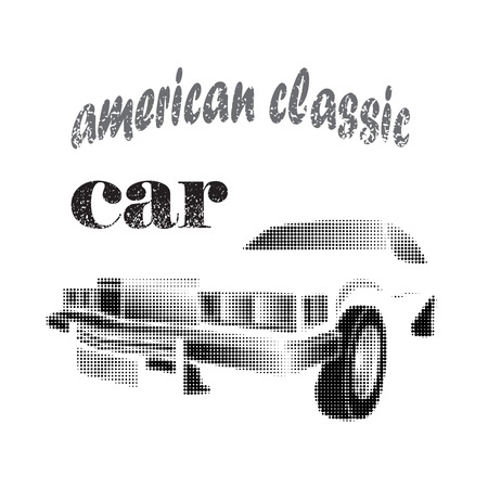 American classic car halftone vector illustration isolated on white background Ilustrace