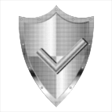 Halftone approved shield isolated on white background