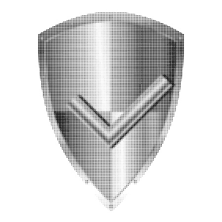 Approved metal shield halftone icon isolated on white background