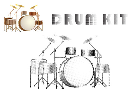Set of realistic and halftone silhouette drum kit icons isolated on white background