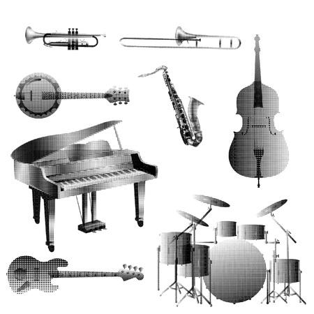 Halftone set of jazz band musical instrument icons isolated on white background Иллюстрация
