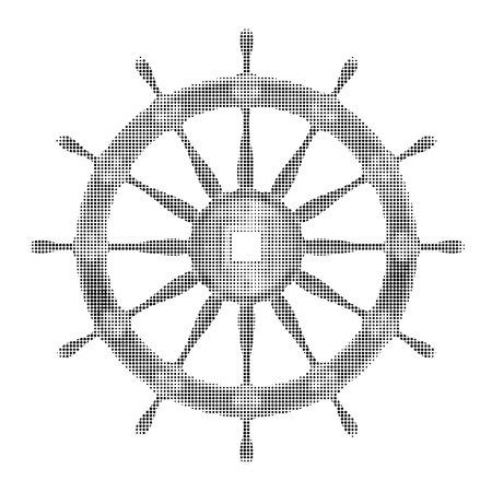 Halftone ship steering wheel vector icon isolated on white background Иллюстрация
