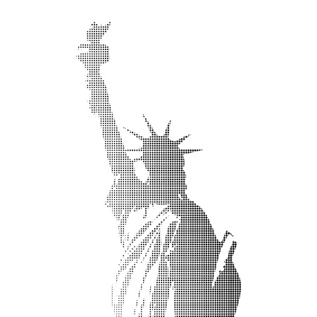 Halftone Statue of Liberty design element isolated on white background