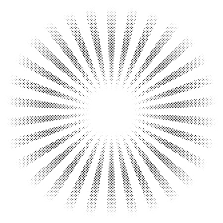 Halftone sunbeams vector graphic element isolated on white background Иллюстрация