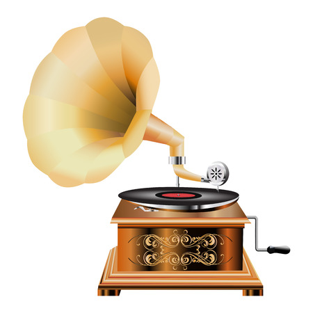 Vintage Phonograph 3d realistische Symbol isoliert auf weißem Hintergrund