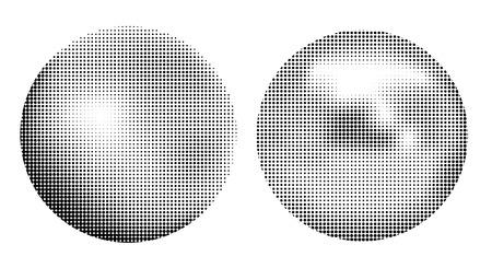Halftone ball icons set isolated on white background