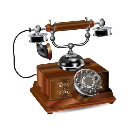retro telephone set realistic icon isolated on white background Иллюстрация