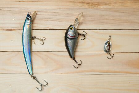 catch fish: bait to catch fish on a wooden background selective focus