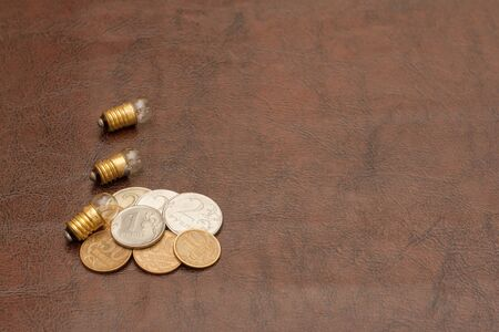 rubles: Vintage, a small light bulb with coins (Russian rubles) lie on a leather background. Steampunk. Stock Photo