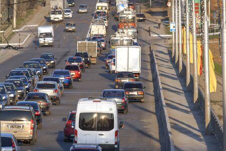 gridlock: Gridlock traffic on the bridge in the city of Cheboksary, Chuvash Republic, Russia. 04292016