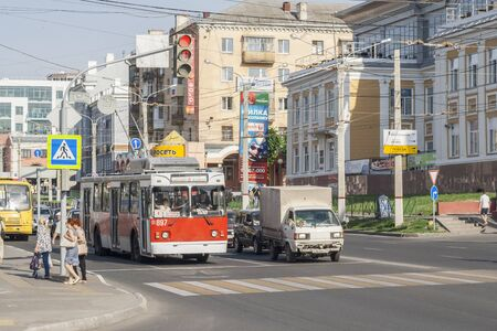 stopped: Public transport stopped at a traffic light junction Moskovskogo Avenue and Presidential Boulevard, the city of Cheboksary, Chuvash Republic, Russia. 06202016