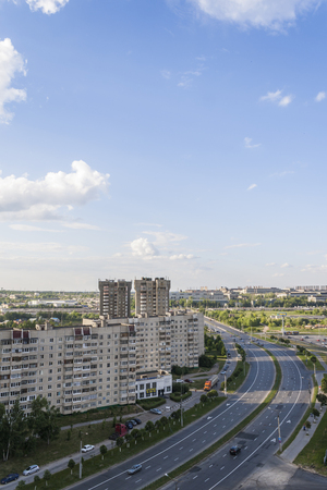 apartment tower old town: The view from the height of the street on Avenue tratorostroiteley, houses,. City Cheboksary, Chuvash Republic, Russia. Travel Russia. 05042016 Editorial