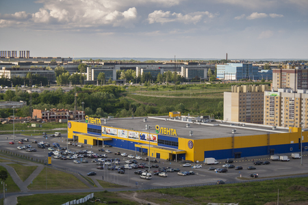 hypermarket: Wil dominant hypermarket on the tape and the parking lot. City Cheboksary, Chuvash Republic, Russia. Travel Russia. 05042016