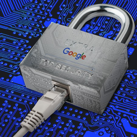 confide: Google security. Secure internet with Google services. Reliable services Google. Internet cable is connected to the castle where the google image search page. 09212016