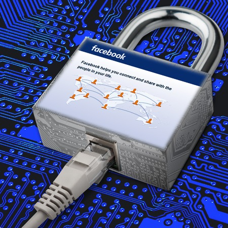 company secrets: Internet cable is connected to the castle where the image is the social network home page facebook. Safety in the social network. Security facebook.