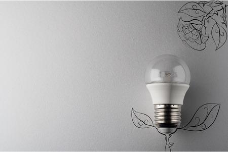 led lamp: creative idea.Concept of idea and innovation with led lamp.