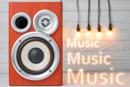 computer club: Speakers. Musical columns with wooden body. Stock Photo