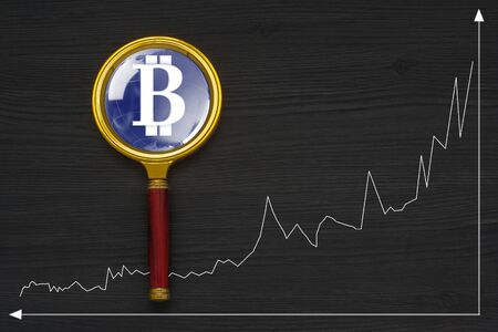 decentralized: The concept of e-commerce growth rate. Cryptocurrency Bitcoin.