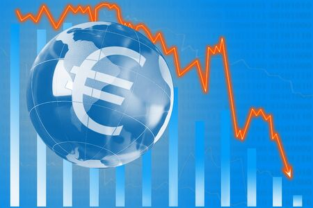 The concept of growing value of the euro. Stock Photo
