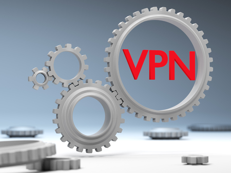 The concept of protection and traffic encryption via VPN technology on the Internet. Stock Photo