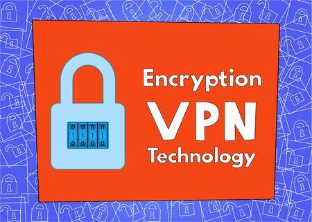 virus cell: Encryption of Internet traffic using VPN technology. Lock text Illustration