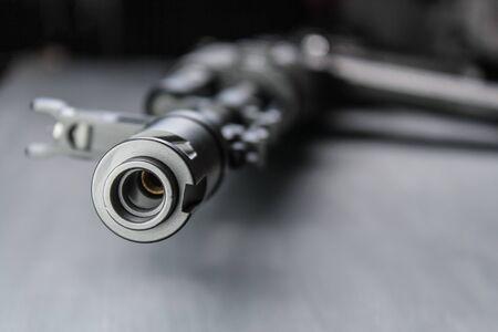 The AK74M Kalashnikov assault rifle model for airsoft. 04082017 Russia, the city of Cheboksary. Stock Photo