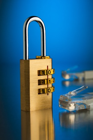 The concept of an encrypted Internet connection. Golden padlock.