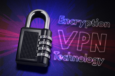 confide: connection to internet security, electronic security, Internet traffic encryption. VPN technology Stock Photo