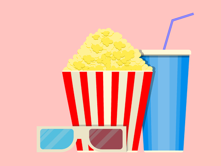 movie film: A set for watching a movie in a movie theater. Illustration