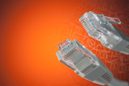 rj 45: The concept of connection to the Internet. Plug RJ 45 close-up. Stock Photo