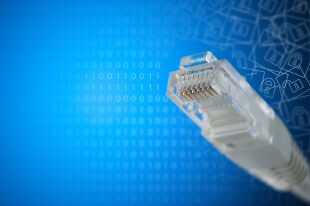 The concept of connection to the Internet. Plug RJ 45 close-up. Stock Photo
