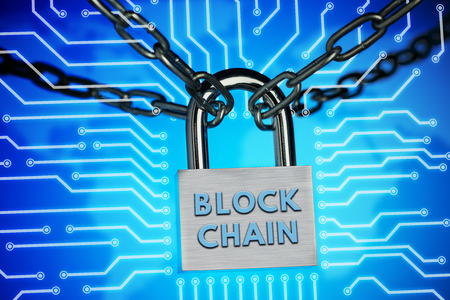The concept of closure, protection. Technology blockchain, encryption of Internet traffic.
