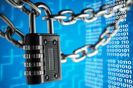 폐쇄, 보호의 개념. 기술 블록 체인, 인터넷 트래픽 암호화. 스톡 콘텐츠