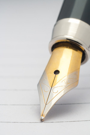 Fountain pen on paper. Entries in the blog. Stock Photo