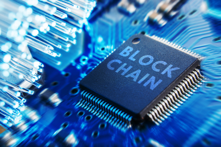 The concept of the block chain technology CHIP Stock Photo