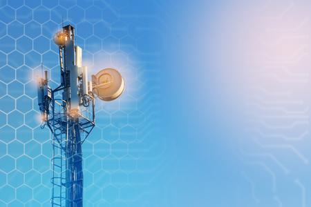 Concept van draadloos radio-internet. 5G mobiele technologieën. Stockfoto