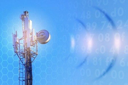 concept of wireless radio Internet. 5G. 4G, 3G mobile technologies. Stock Photo