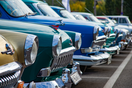 Old cars are gas in the parking lot. City of Cheboksary, Russia, September 22, 2018 Editöryel