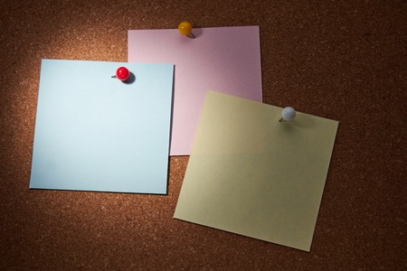 Blank paper notes attached to cork wall with push pins. Stock Photo