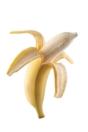 Peeled banana. Photographed on the stack. Good, detailed photo processing. Stock Photo