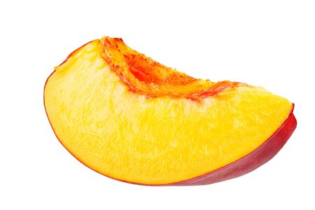 Nectarine fruit segment is isolated on a white background with the pen tool. The whole depth of field. Stok Fotoğraf